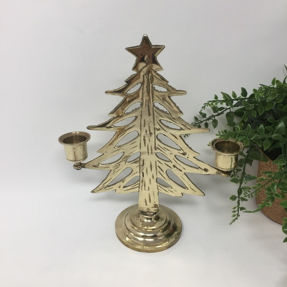 Vintage Brass Christmas Tree Candle Holder.Vintage 8 Brass Christmas Tree Candlestick Holder